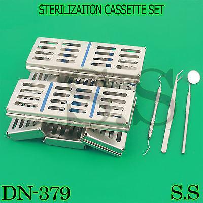 10 Surgical Dental Autoclave Sterilizaiton Cassette Tray Box For 5 Instru Dn-379