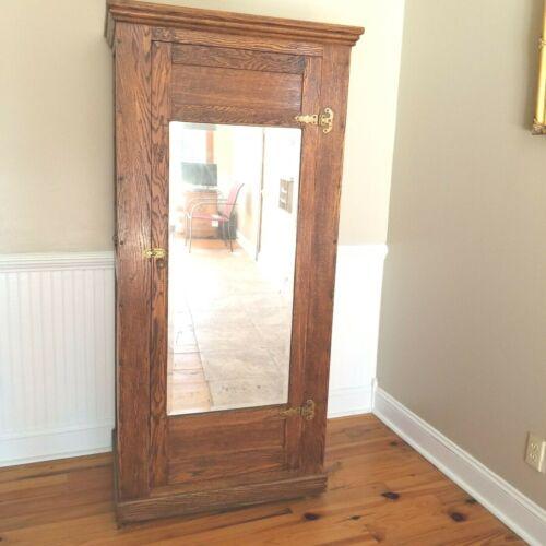 Antique Oak Armoire Wardrobe - Gun Cabinet - Arts & Crafts - American