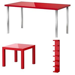 IKEA Red Furniture (Desk, shelf, and side table)