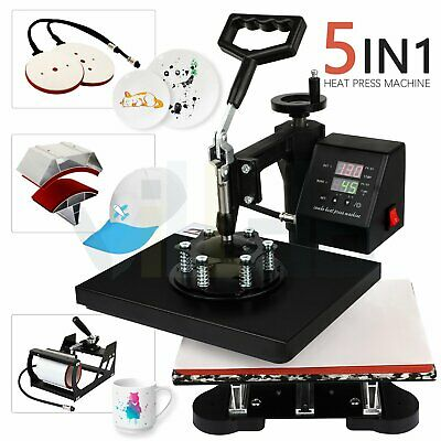 5 In 1 Combo Digital Heat Press Machine 12 X 10 Swing Away Mug T-shirt Hat Plate