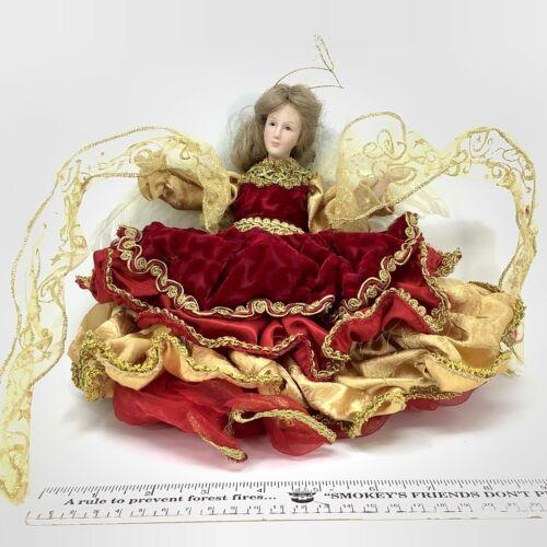 Christmas Angel TreeTopper Porcelain Stuffed Red Velvet Dress Real Feather Wings