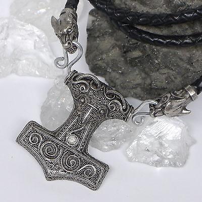 Mjölnir Thorhammer echt Lederkette geflochten mit Zinn Wolfsköpfe und Verbinder