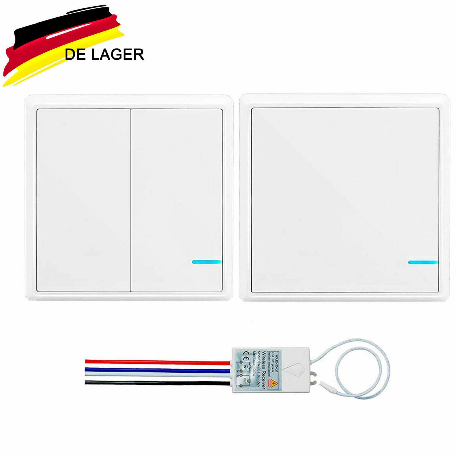 Lichtschalter Funkschalter Set mit Empfänger LED Anzeige Wasserdichter Ein/Aus