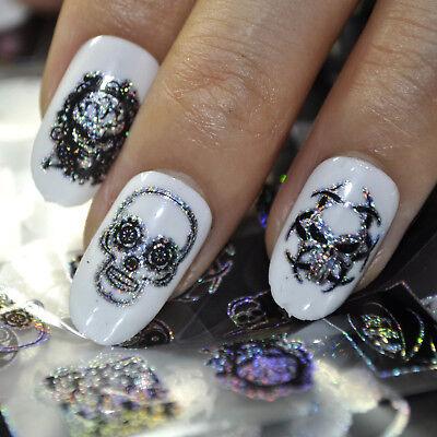 FOIL Halloween manicure teschi PUNK GOTHIK ADESIVI unghie Stickers per nail art