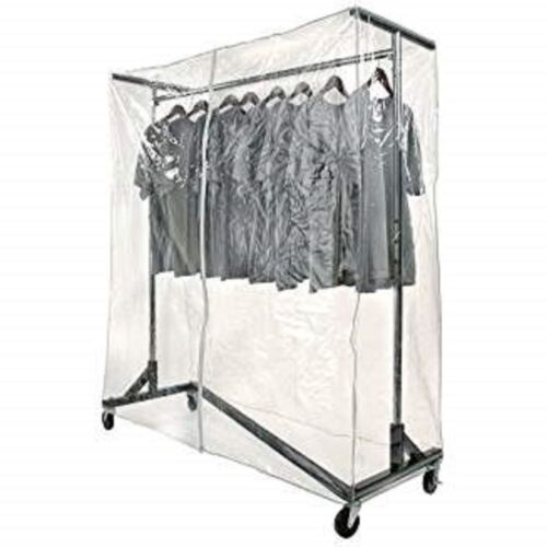New Commercial Grade Garment Black Base Z-Rack with Cover Supports & Vinyl Cover