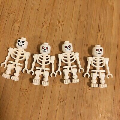 LEGO White Skull Skeleton Minifigure Halloween Lot of 4 Mini figures