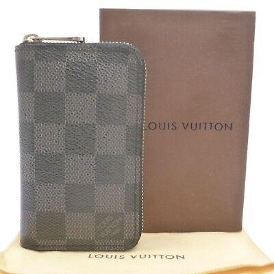 Auth LOUIS VUITTON Zippy Coin Purse Vertical Damier Graphite N63076 #S202022