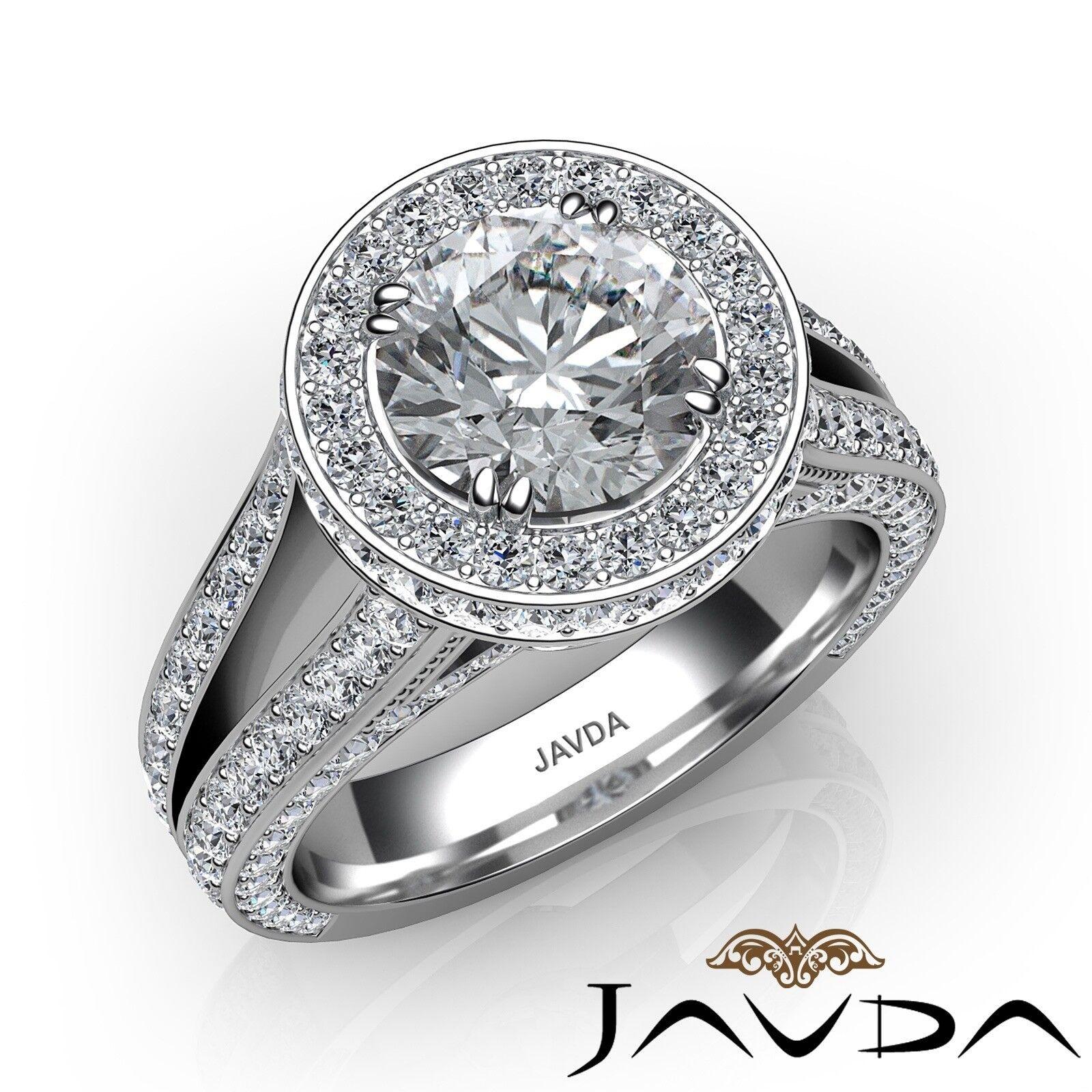 3.51ctw Halo Split Shank Bridge Round Diamond Engagement Ring GIA I-VVS2 W Gold