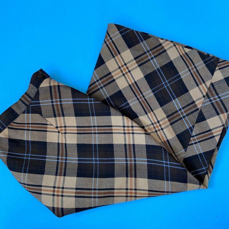 Vintage 90's Casual Corners Brown & Blue Plaid Midi Skirt A-Line