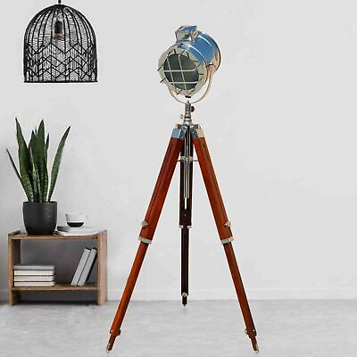 Wooden Tripod Floor Lamp LED Retro Nautical Spotlight Vintage Studio Shade Light