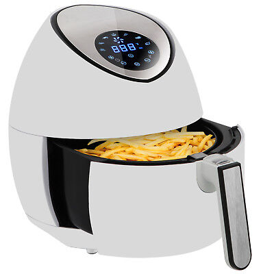 Electric Lcd Air Fryer 3.5l3.7qt Touch Screen Removable Basket 1500w White
