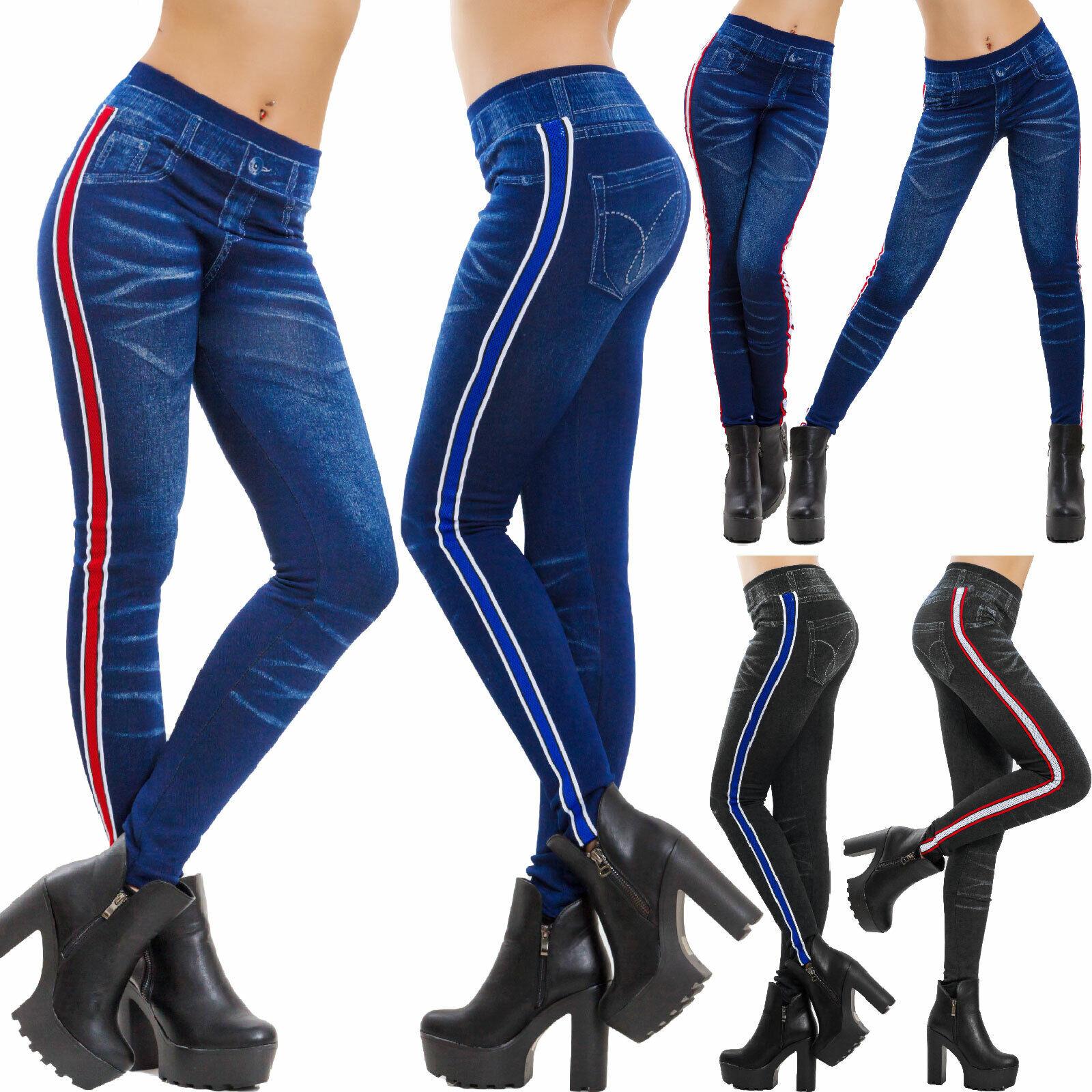 Leggings Mujer Efecto Vaqueros Denim Pantalones Ajustado Rayas Toocool F412 Ebay