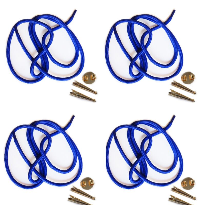 Blank Bolo Tie Parts Kit Round Slide Smooth Tips Blue Cord Goldtone Pk/4