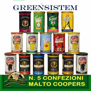 N-5-CONFEZIONI-MALTO-COOPERS-8-5-kg-115-Lt-di-BIRRA-OFFERTA-GREENSISTEM