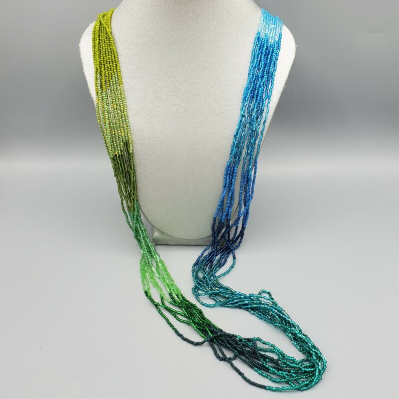 """Green Blue Teal Gradient Glass Bugle & Seed Bead 10 Strand Necklace 40"""""""