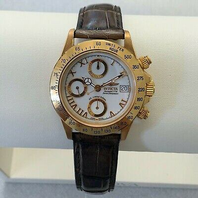 INVICTA MENS SOLID 18K GOLD LIMITED EDITION 2/150 LEATHER BAND AUTOMATIC SWISS