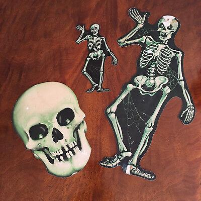 loween Dennison Die Cut Assorted Skeletons / Heads (Vintage Halloween Dennison)