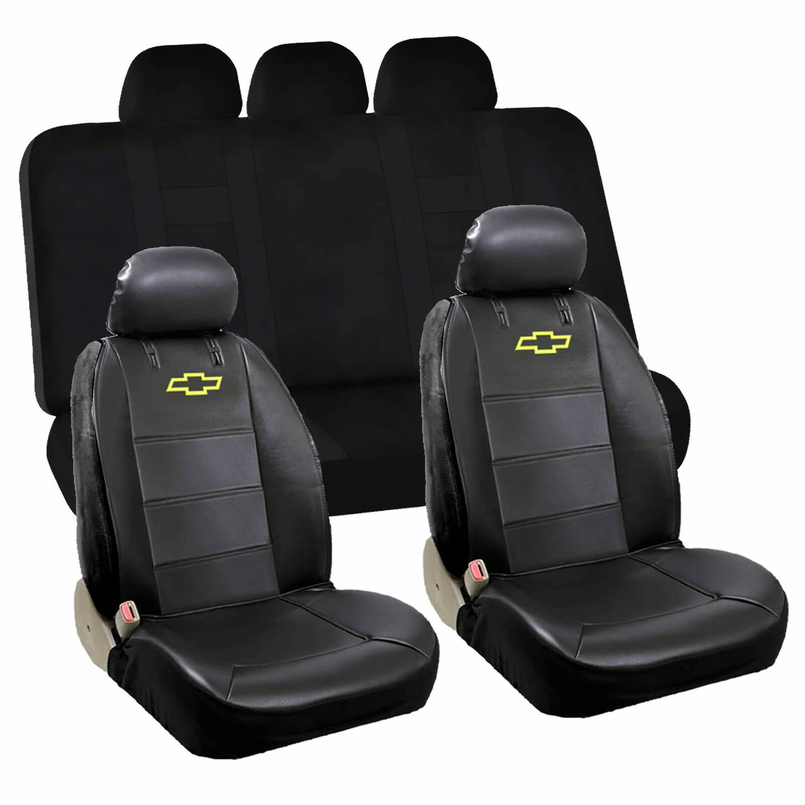 New Chevy Bowtie Logo Car Truck 2 Front Sideless Seat Covers Floor Mats Set