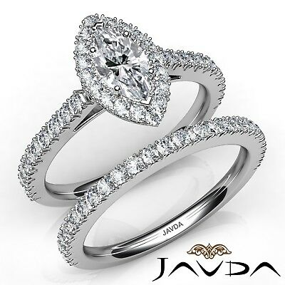 2.27ctw French V Pave Bridal Marquise Diamond Engagement Ring GIA D-VS1 W Gold