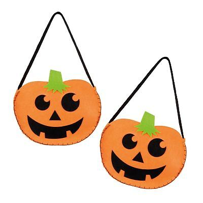 2 x Halloween Sweet Sweetie Goody Goodie Bag Felt Pumpkin Face Handbag Girls Boy