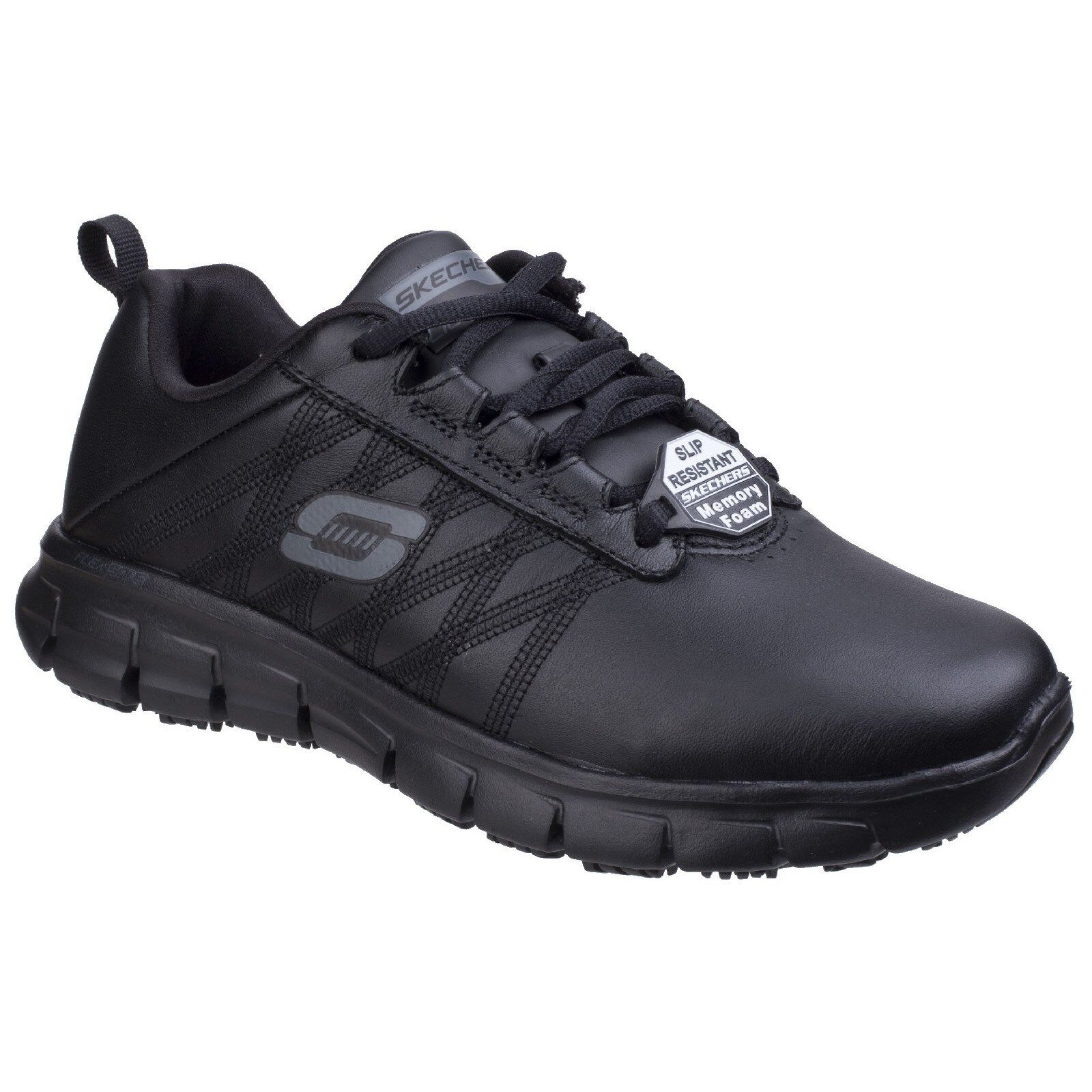 Details about Skechers Sure Track Erath SR Work Trainers Womens Memory Foam Leather Shoes