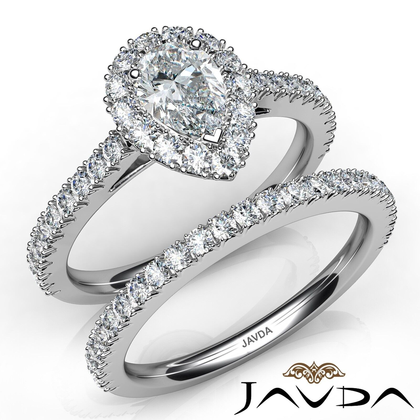 2ctw French Pave Bridal Set Halo Pear Diamond Engagement Ring GIA H-VS2 W Gold