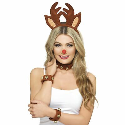 Donna Natale Renna Rudolph Costume Travestimento Set Kit Antlers Strozzatore