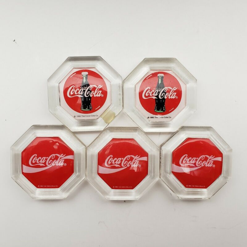 Set of 5 Vintage 1995 Coca Cola Magnets Red Clear Hexagon Sturdy