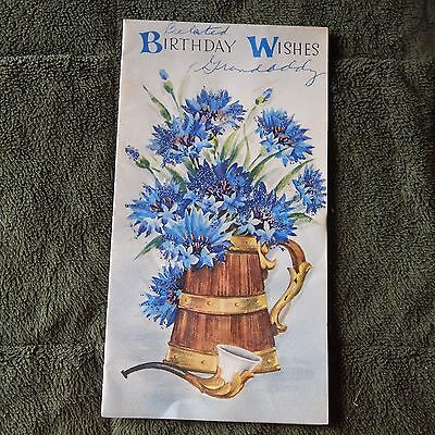 Vintage Birthday Card Masculine Blue Glitter Mums   Pipe Famous Artists Studios
