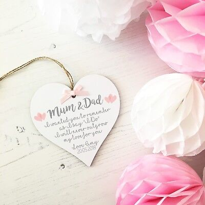 Mum Dad Parents Wedding Thank You Gift Personalised Plaque Quote Keepsake Heart