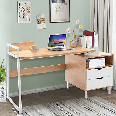 Computer Desk Corner Home Office Desk Study Table Heavy Duty Metal With 2 Drawer
