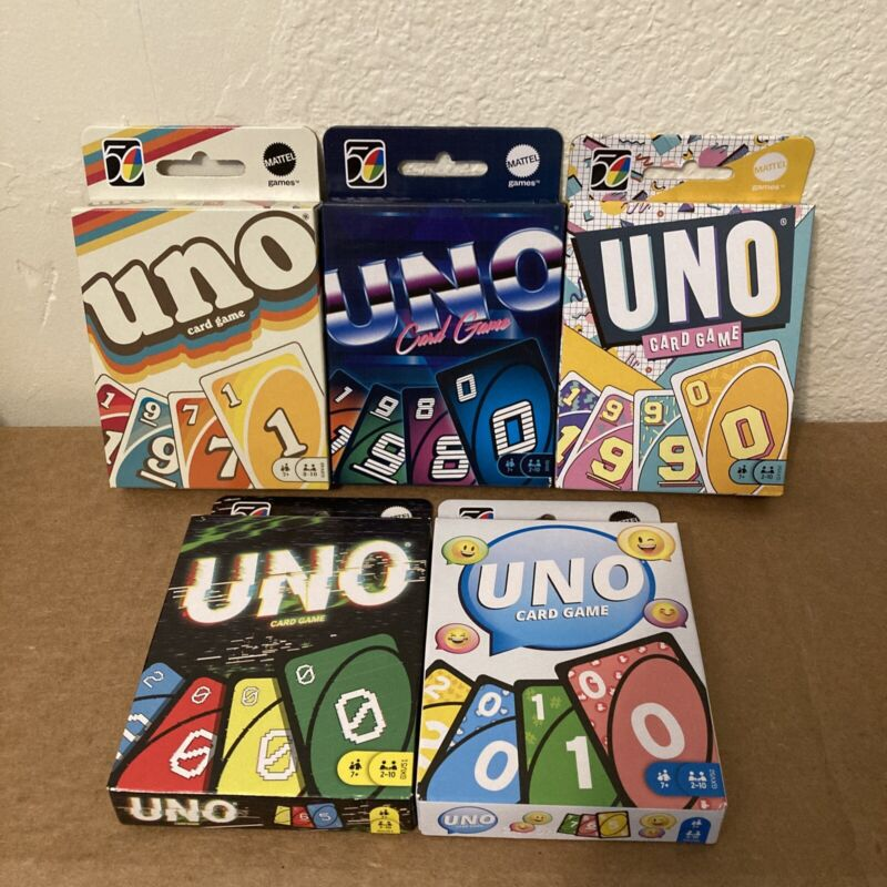 UNO Iconic 50th Anniversary Retro Family Card Game ALL 5 SETS Mattel NEW