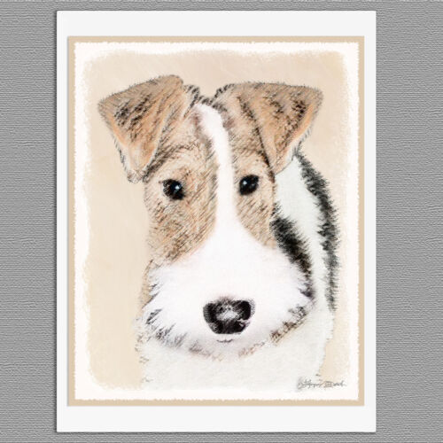 6 Wire Fox Terrier Dog Blank Art Note Greeting Cards