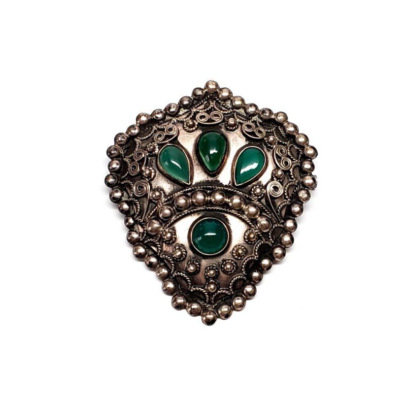 Vintage 800 Silver Chrysoprase Pin / Brooch #7429