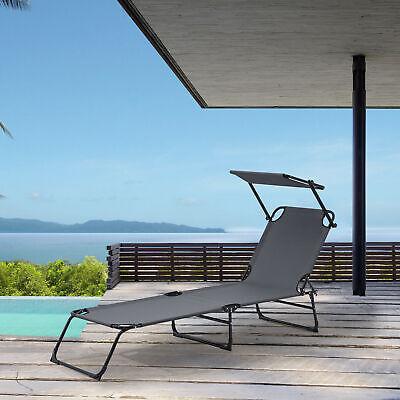 [Casa.pro] Sonnenliege 190cm Gris Oscuro Con Techo Solar Tumbona Hamaca Playa