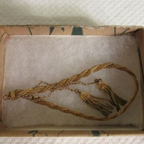 Victorian Bracelet Gold Filled  L.MFG Co. 1/20 12 K Tassels  Braided Adjustable