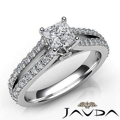 Princess Diamond Engagement French V Pave Bezel Set Ring GIA F Color SI1 1.15Ct