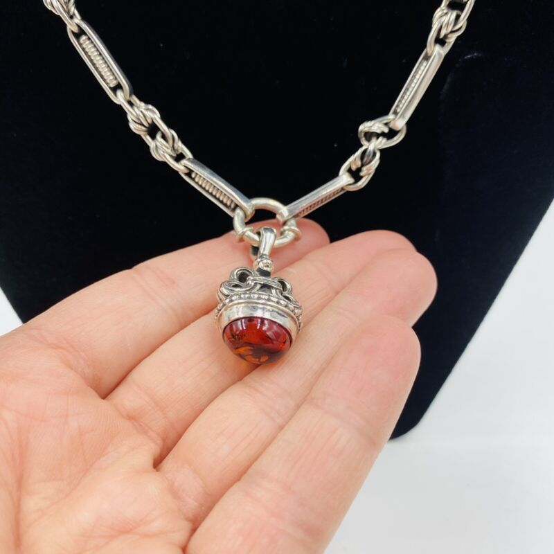 Silver Necklace Taxco Mexico Sterling 925 Amber Watch Chain Womens Pendant