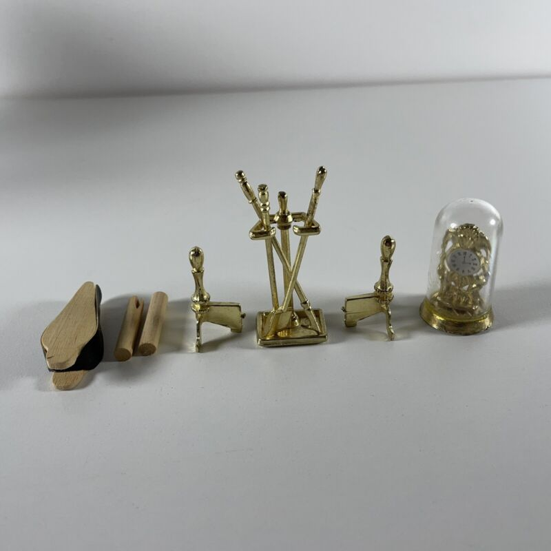 Doll House Fireplace Accessories Tools and Mantle Clock