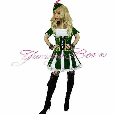 Yummy Bee Robin Hood Women Fancy Dress Costume Peter Pan Adult Plus Size 6-18 - Peter Pan Plus Size Halloween Costumes