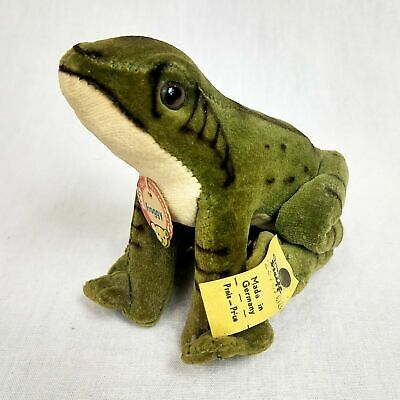 Steiff Froggy vintage stuffed frog with button, yellow tag, and name tag 2370/08