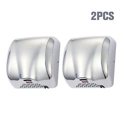2 Pack Stainless Steel Automatic Commercial Hand Dryer 1800w Chrome For Bathroom