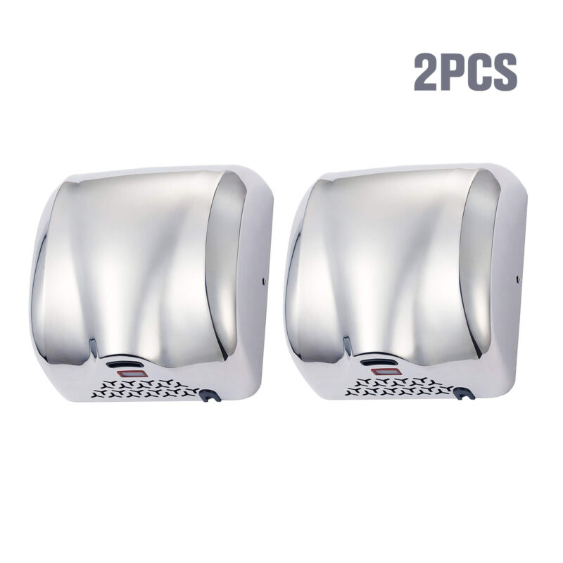 2 Pack Stainless Steel Automatic Hand Dryer Commercial 1800W Chrome for Bathroom