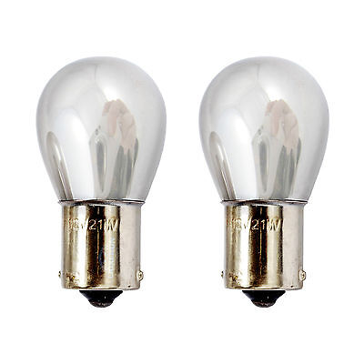 2x BA15S P21W 1156 382 Indicator Front Turn Signal Amber Chrome Silver Bulbs 12V