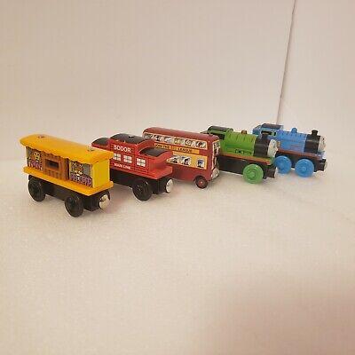 Thomas The Train Wooden Lot Thomas, Percy, Zoo Car, (Bulgy 1993 Rough Shape)