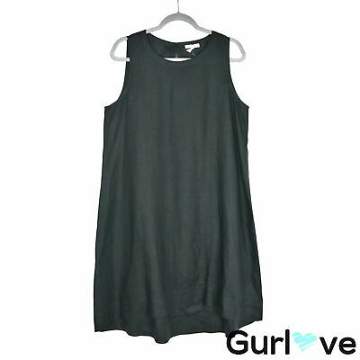 Eileen Fisher Sz M Women's Dress Solid Black Sleeveless Organic Linen Midi Relax