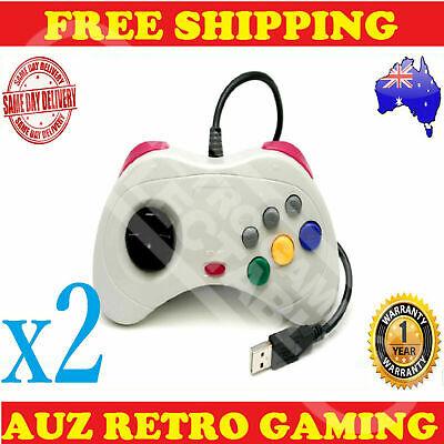 2x White USB Controller Gamepad For Sega Saturn PC & Mac Windows