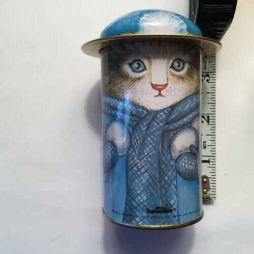 Vintage 1985 WINTER SNOWBALL KITTY CUCUMBER CAT Tin Trinket Storage with Lid Hat