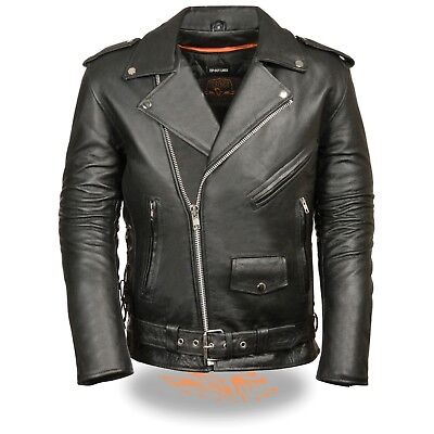 Classic Side Lace Motorcycle Jacket - Milwaukee Leather Men's Classic Side Lace Police Style Motorcycle Jacket -SH1011