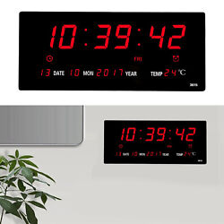 Electronic LED Digital Wall Clock Temperature Humidity Display Home Office